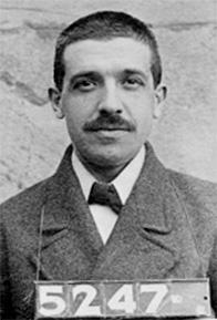 Mug shot of Charles Ponzi; public domain.