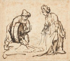 "Rembrant van Rijn, ""Boaz Pouring Six Measures of Barley into Ruth's Veil"" (1645)."