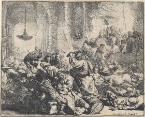 Rembrandt Christ Cleansing the Temple 1635