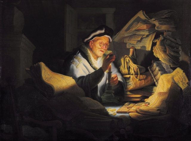 Parable of the rich man*oil on panel*31.9 x 42.5 cm*signed b.l.: RH. 1627.