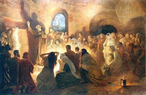 St Peter Preaching the Gospel in the Catacombs by Jan Styka